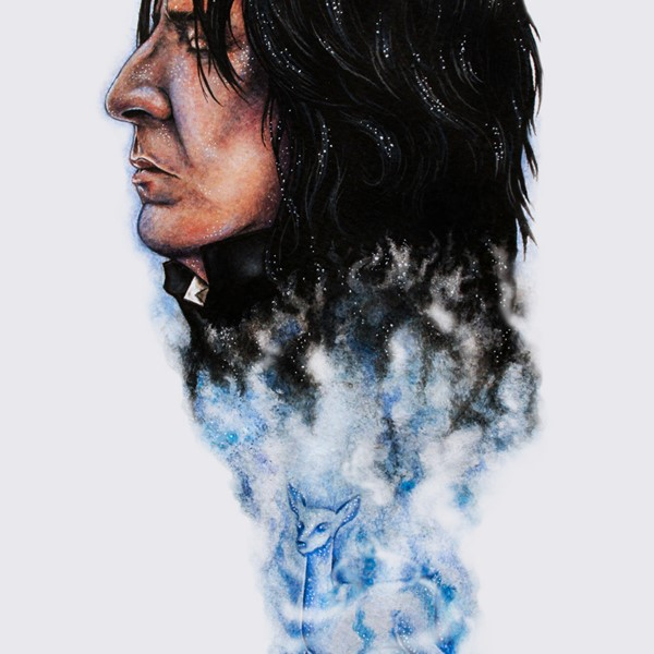 A Portrait of Alan Rickman by the illustrator Holly Khraibani