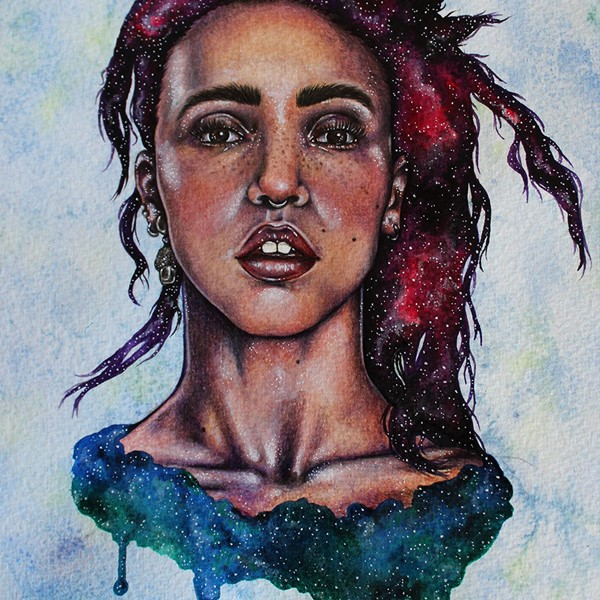 A Portrait of FKA Twigs by the illustrator Holly Khraibani