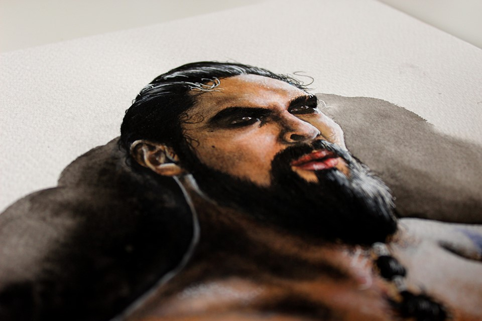 Mixed media portrait of Khal Drogo by Holly Khraibani